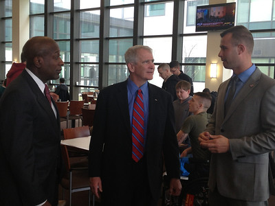 SSgt Herman with LtCol Oliver North and former Sergeant Major of the Marine Corps Carlton Kent at the Warrior Cafe at Walter Reed National Military Medical Center.