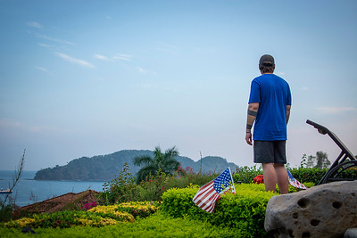 Army Ranger Veteran Ethan Gronbeck looks out over the resort upon arrival for the Heroes Vacation at Los Sueños.