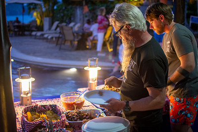 The troops were given a poolside feast almost each night of the Heroes Vacation at Los Sueños.