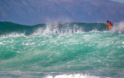 Surfing Sunset BreakNorth Shore of O'ahu, Hawai'i  October 2003
