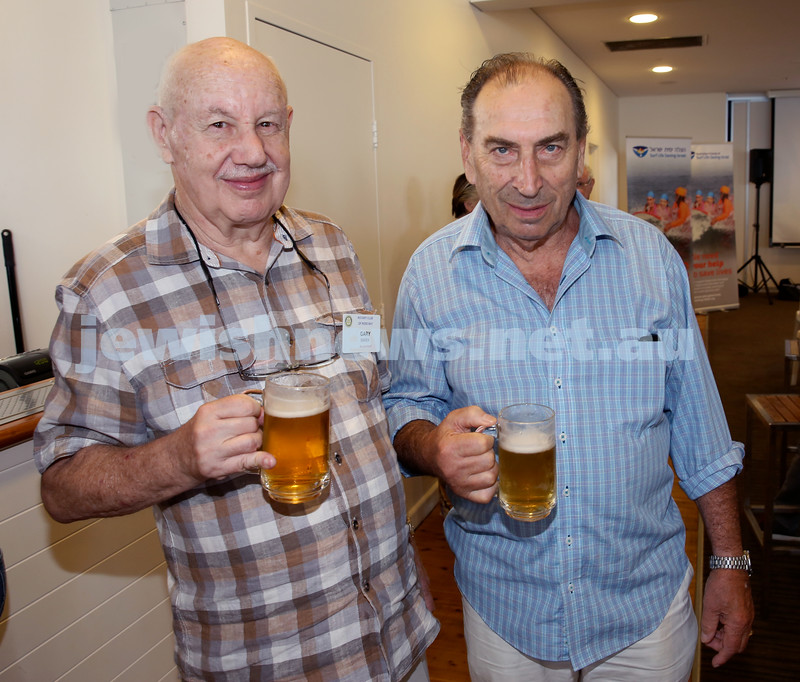 Launch of Australian Friends Of Surf Life Saving Israel at Bondi Surf Bathers Life Saving Club. Gary Marx (L) & John Roozendaal. Pic Noel Kessel.