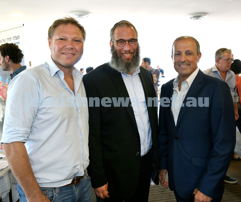 Launch of Australian Friends Of Surf Life Saving Israel at Bondi Surf Bathers Life Saving Club. (from left) Leon Goltsman, Rabbi Mendel Kastel, Vic Alhadeff. Pic Noel Kessel.