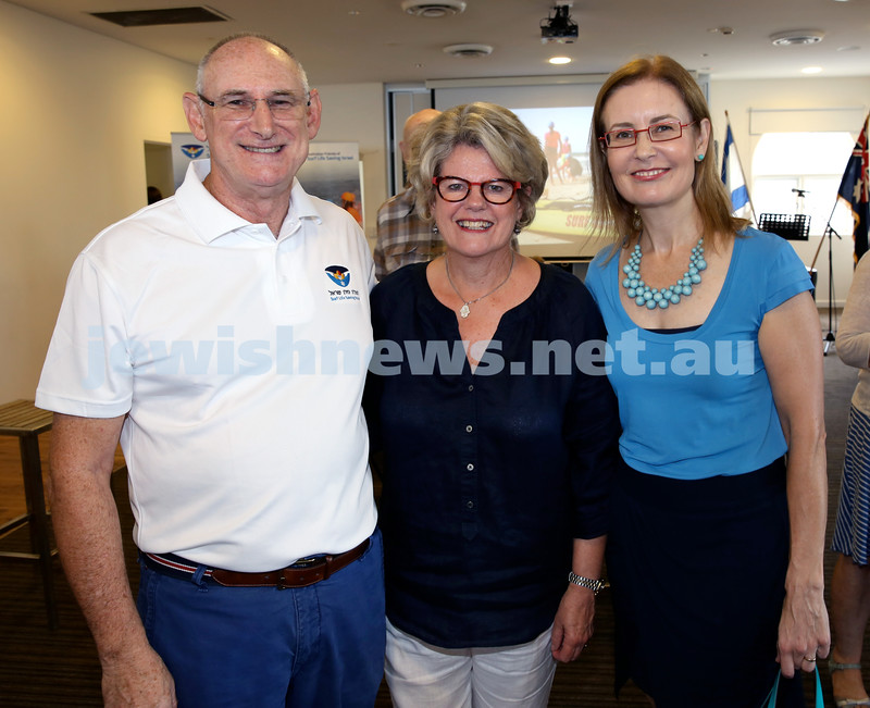 Launch of Australian Friends Of Surf Life Saving Israel at Bondi Surf Bathers Life Saving Club.(from left)  Steve Rubner with wife Ann & Gabrielle Upton. Pic Noel Kessel.