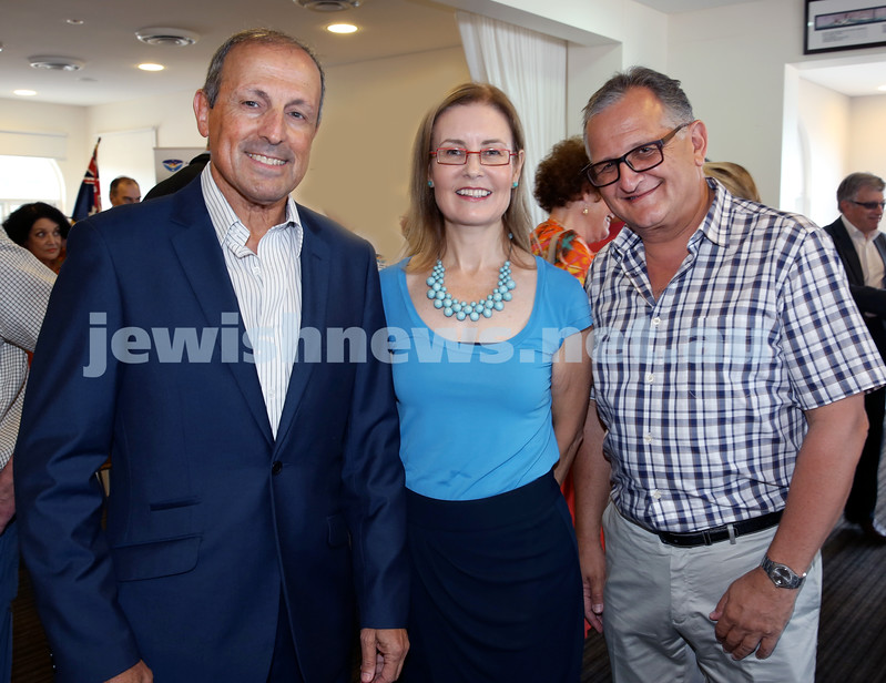 Launch of Australian Friends Of Surf Life Saving Israel at Bondi Surf Bathers Life Saving Club. (from left) Vic Alhadeff, Gabrielle Upton, Richard Balkin. Pic Noel Kessel.