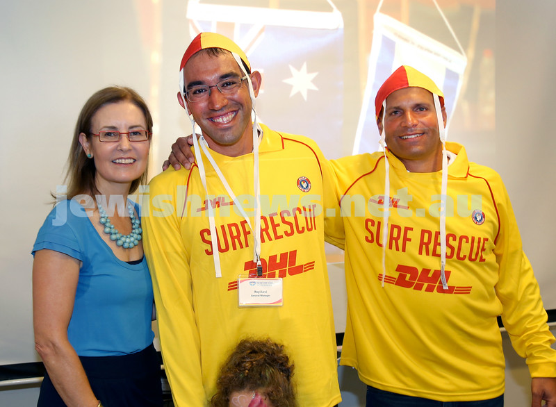 Launch of Surf Life Saving Israel at Bondi Surf Bathers Life Saving Club. Gabrielle Upton with Royi Levi and Barak Davidovits.Pic Noel Kessel