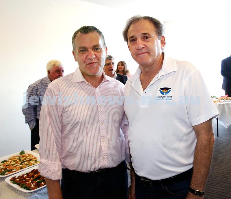 Launch of Australian Friends Of Surf Life Saving Israel at Bondi Surf Bathers Life Saving Club. Paul Stephenson (L) and John Grill. Pic Noel Kessel.