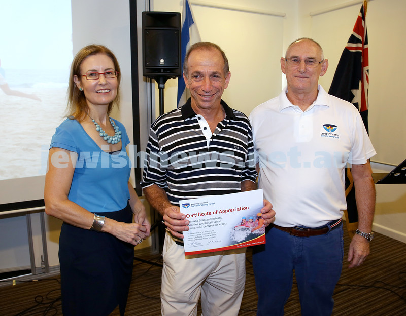 Launch of Australian Friends Of Surf Life Saving Israel at Bondi Surf Bathers Life Saving Club. Gabrielle Upton, Stanley Roth, Steve Rubner.