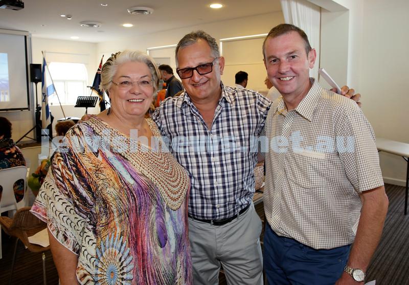 Launch of Australian Friends Of Surf Life Saving Israel at Bondi Surf Bathers Life Saving Club. (from left) Sally Betts, Richard Balkin, Bruce Notley-Smith. Pic Noel Kessel.