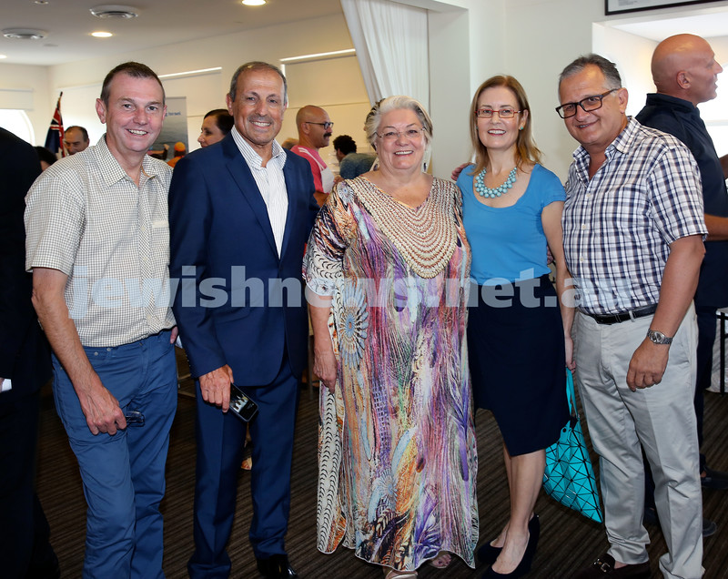 Launch of Australian Friends Of Surf Life Saving Israel at Bondi Surf Bathers Life Saving Club. (from left) Bruce Notley Smith, Vic Alhadeff, Sally Betts, Gabrielle Upton, Richard Balkin. Pic Noel Kessel.