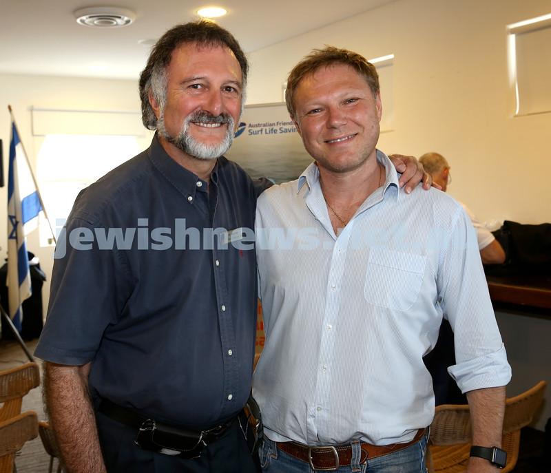Launch of Australian Friends Of Surf Life Saving Israel at Bondi Surf Bathers Life Saving Club. Tony Kay (L) & Leon Goltsman. Pic Noel Kessel.