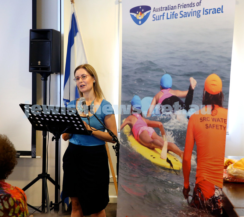 Launch of Australian Friends Of Surf Life Saving Israel at Bondi Surf Bathers Life Saving Club. Gabrielle Upton launching the event. Pic Noel Kessel.
