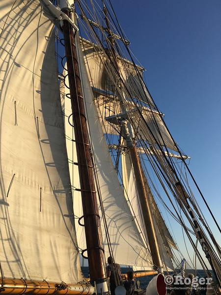 Sunset sail on LAMI Topsail's brigantine Irving Johnson http://www.lamitopsail.org