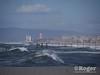 Storm surf at Hermosa pier and Manhattan pier