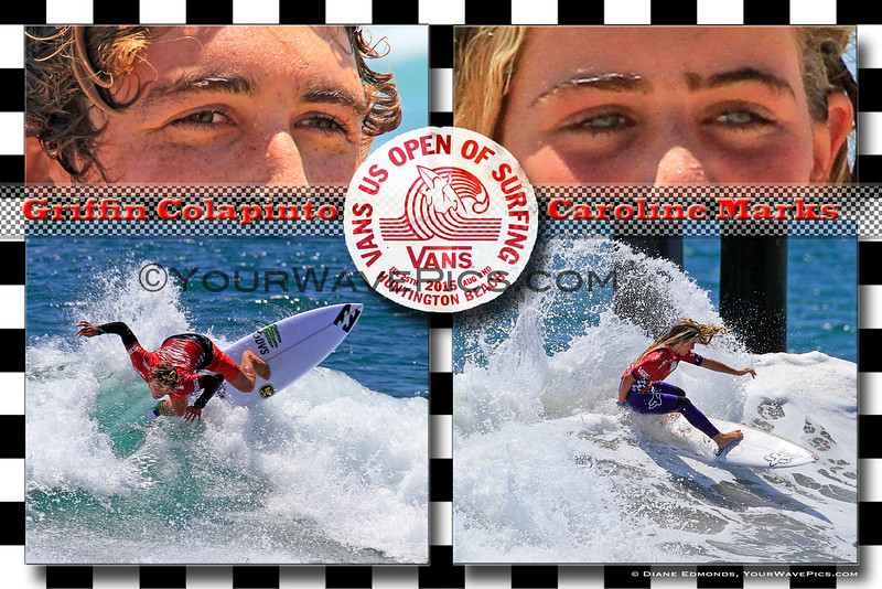 Vans US Open of Surfing 2015 Junior Mens winner, Griffin Colapinto and Junior Womens winner, Caroline Marks