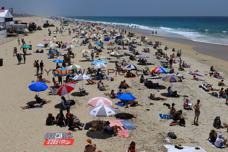 2019-08-01_US Open_5.JPG<br /> <br /> US Open of Surfing 2019.  Every morning Van's puts out a bunch of free umbrellas for spectators!