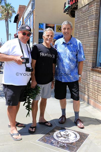 2019-08-01_Walk of Fame_77_Dano Patten_Sam Hawk_Gary Sahagen.jpg<br /> 2019 Surfing Walk of Fame Induction