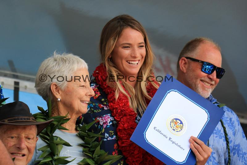 2019-08-01_Walk of Fame_53_Don MacAllister_Linda Benson_Courtney Conlogue_John Etheridge.JPG<br /> 2019 Surfing Walk of Fame Induction