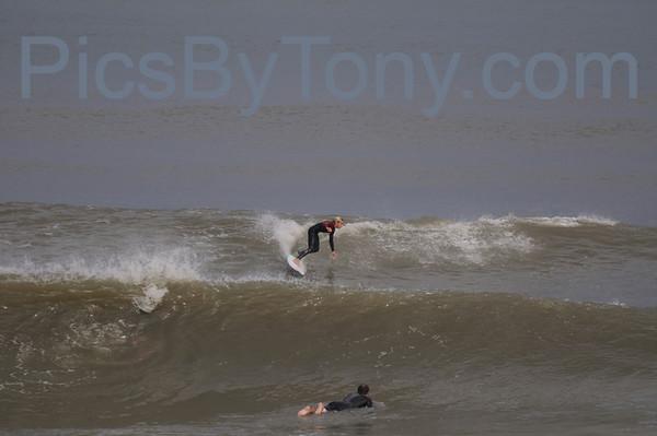 Folks Surfing at Pier in Flagler Beach, FL on 12/29/2013
