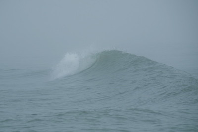A juicy swell laps at the fog.