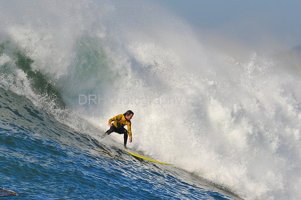 """12 January 2008: Grant """"Twiggy"""" Baker during the finals of the 2008 Mavericks Surf Contest in Half Moon Bay, CA."""