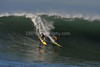 """12 January 2008: Ryan Seelbach (red) and Grant """"Twiggy"""" Grant (yellow) during the semifinals of the 2008 Mavericks Surf Contest in Half Moon Bay, CA."""