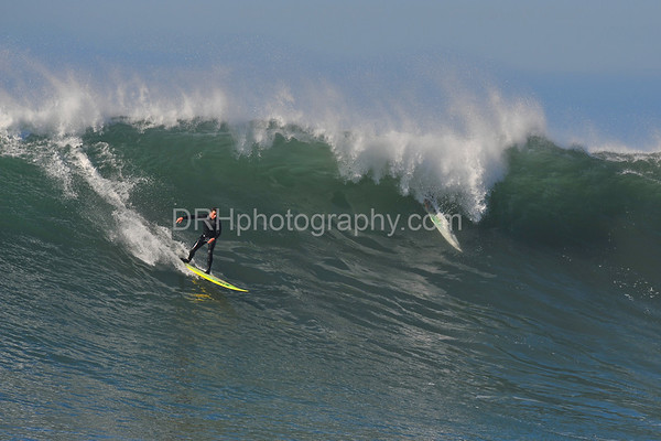 12 January 2008: Action during a break in the 2008 Mavericks Surf Contest in Half Moon Bay, CA.