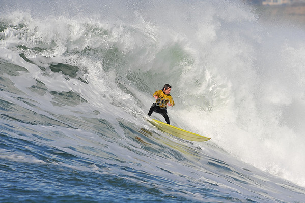 "12 January 2008: Grant ""Twiggy"" Baker during the semifinals of the 2008 Mavericks Surf Contest in Half Moon Bay, CA."