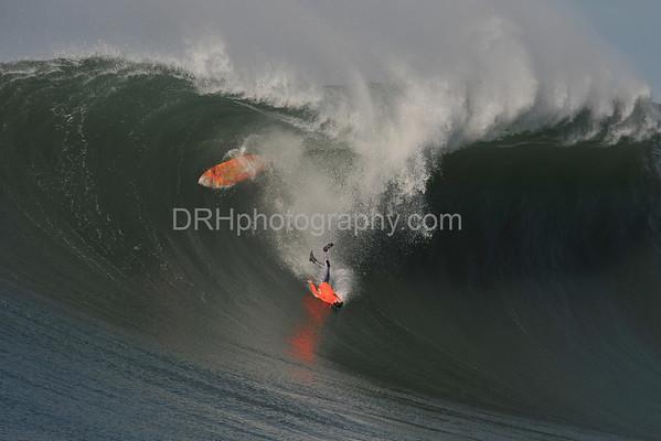 "12 January 2008: Darryl ""Flea"" Virostko during Heat 4 of the 2008 Mavericks Surf Contest in Half Moon Bay, CA."