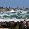 2021-08-19_Lower Jetties from 53rd St._E21.JPG<br /> A Southern-Hemi swell plus a touch of Hurricane Linda swell brought big surf to Newport's Lower Jetties.  Looking south from 53rd St.