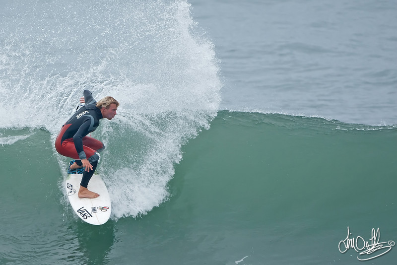 Tanner Gudauskas<br /> Morning warmup before heat at Nike US Open of Surfing 2011