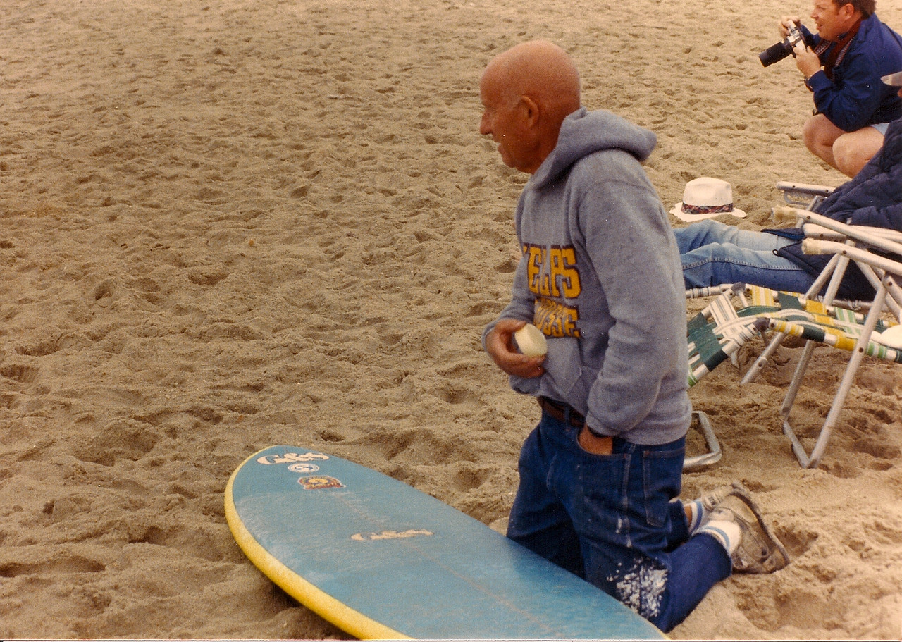 """Howie Lyon at Hatteras Oct 1986 - East Coast Surfing Legends Hall of Fame 2002<br /> Quote:<br /> """"For the young squirts I tell 'em that I don't surf trying to see how many medals or that junk I can find. I like to try my best and have fun,"""" Lyon said."""
