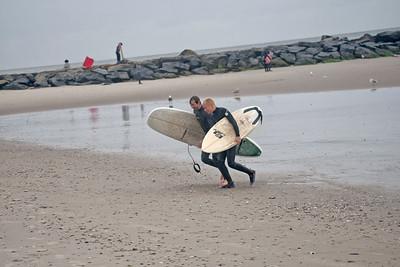 Surfing Rockaway Beach -in the Storm Oct 2015
