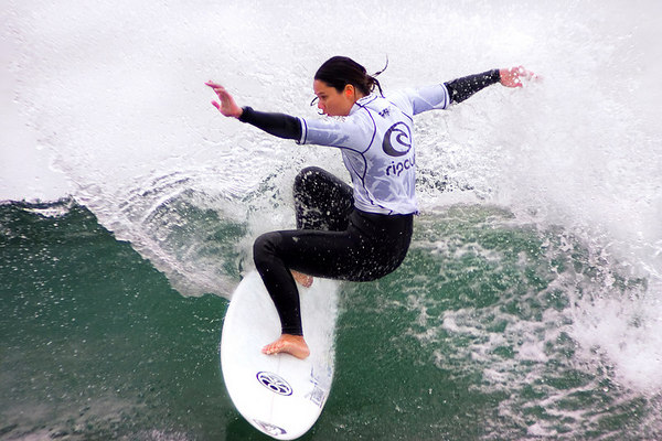 Megan Abubo at the RipCurl Pro in Malibu, 2004.