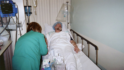 Here I am looking away as we try to get the second IV working so they can put me under..  And, boy, does what ever they use work in a hurry.  I had just about enough time to reflect that I might be feeling a little more relaxed, and bang - next thing I know it's all over..
