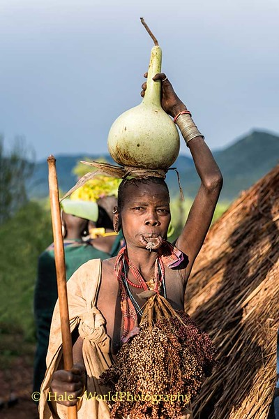 Elderly Suri Woman and Gourd