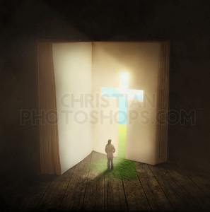 Woman walking through a Bible door
