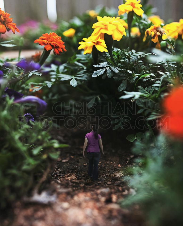 Woman walking around flowers