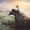 Little girl on a big bear