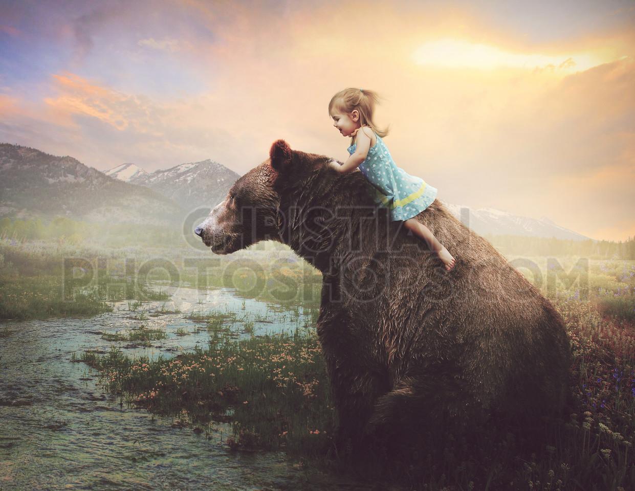 Little girl on a big bear