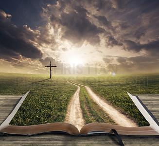 Man walking on Bible