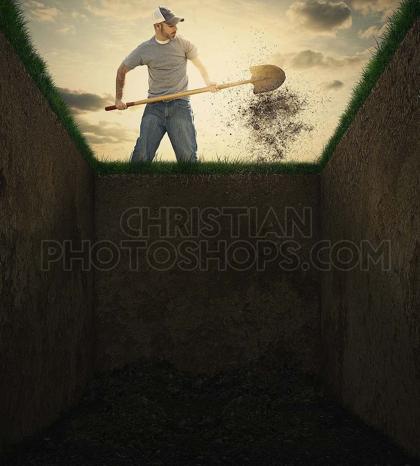 Dirt into a grave.
