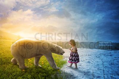 Polar bear and little girl