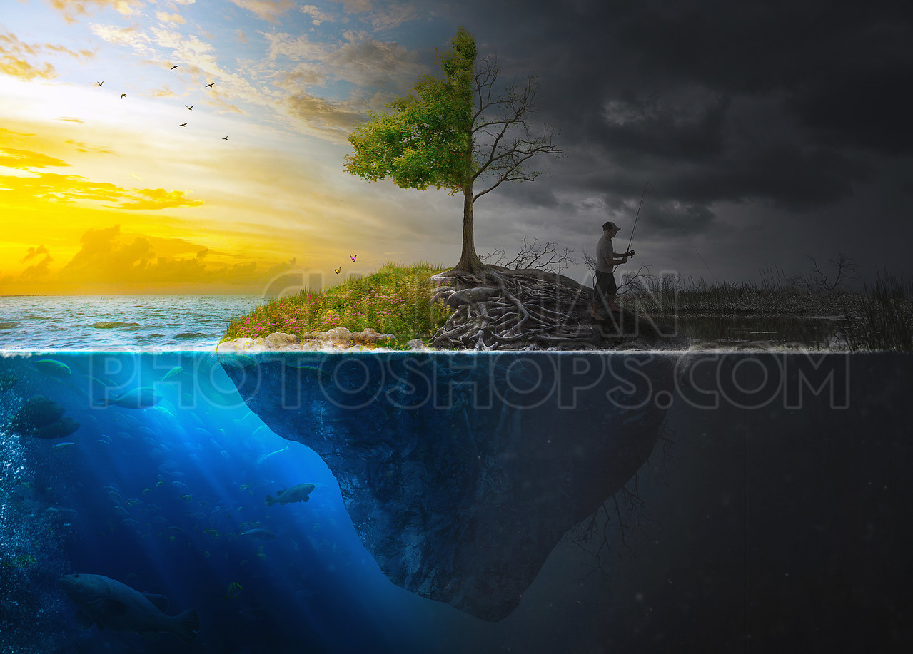 Surreal landscape with man fishing
