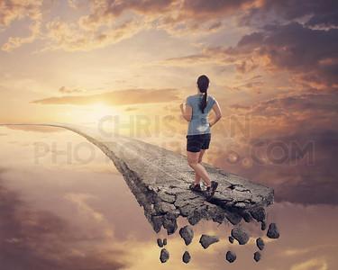 Running on broken road.