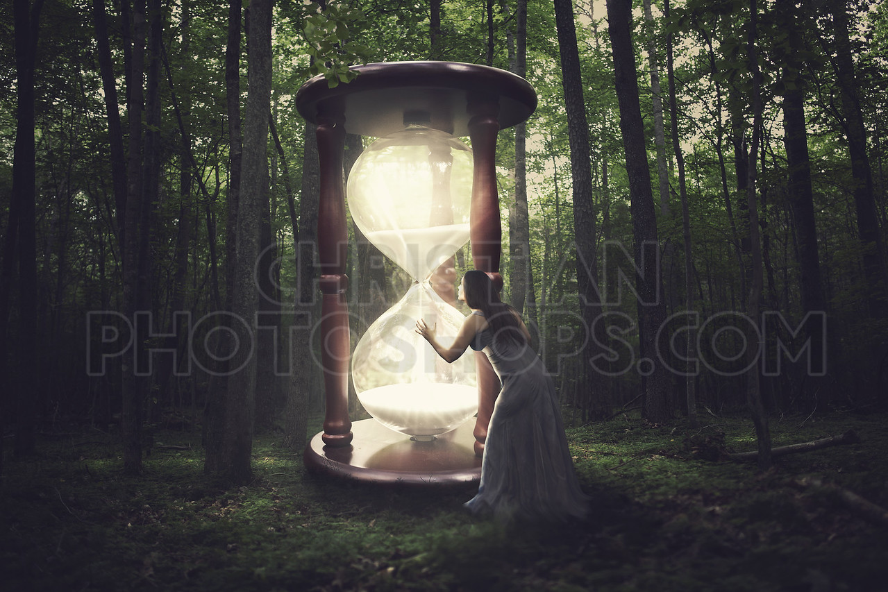 Hourglass in forest