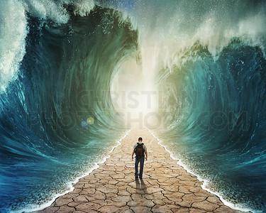 Walking through the water