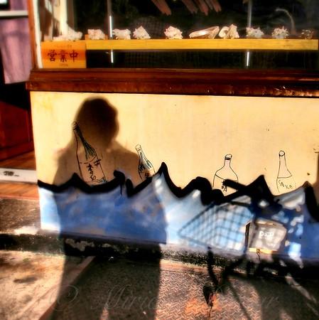 In a Big City. Shadow Girl Ponders.