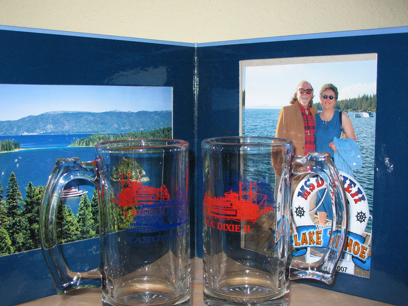 Our official cruise picture and our souvenir glasses (from the Emerald green drinks).