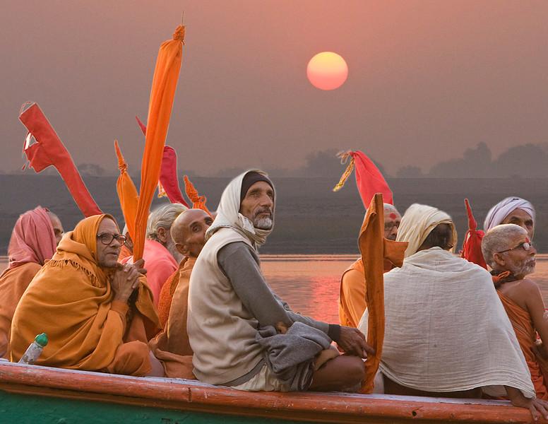 Pilgrims on the Ganges at Sunrise (digital composite)