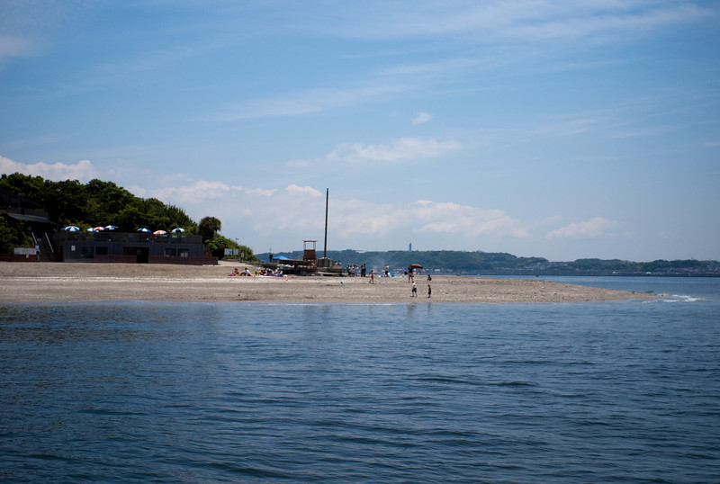 View of the beach as the boat approaches the island